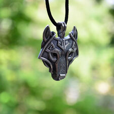 Fashion Mens Retro Stainless Steel Wolf Animal Head Pendant Chain Necklace