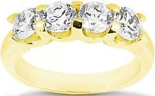 "1.21 ct 4 Round Diamond Wedding ""U"" shape Band Anniversary Ring 18k Yellow Gold"