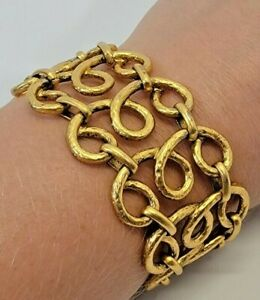 """CS J.Crew Gold Tone Wide Chunky Link Bracelet Statement Jewelry Piece 7.75"""" Long"""