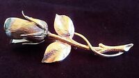 Vintage Rose Brooch Pin Silver Tone 3D Flower Bridal Gift Bridesmaid Retro Girly