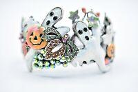 Kirks Folly Halloween Hinged Bangle Bracelet Rhinestone Crystal Ghost Fall Bin2