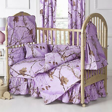 Realtree All Purpose Lavender 13 Piece Crib Set with Curtains FREE SHIP