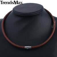 Braided Rope Cord Necklace Mens Chain Brown Man-made Leather 4/6/8mm 16-22 Inch