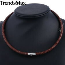 Braided Rope Cord Necklace Mens Chain Man-made Leather Choker 4/6/8mm 16-24 Inch