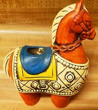 Vintage Mid Century 60s 70s Ceramic Painted Colorful Trojan Horse Candle Holder