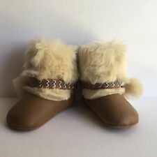 Jessica Simpson Girls' 2915 Marci Tan Infant Faux Fur Booties Size 2  3-6 Mo