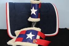 CAPRIOLE HORSE ACCESS NAVY/RED & WHITE SADDLE CLOTH/PAD BOOTS SET PONY SIZE