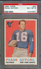 1959 TOPPS FOOTBALL #20 FRANK GIFFORD GIANTS PSA 8