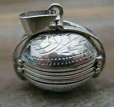 Beautiful Hallmarked Sterling 925 Silver Folding Photo Ball Locket Pendant Fob
