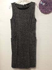 Ladies dress GEORGE size 12-14 gray print sleeveless fully lined 88
