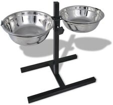 Adjustable Double Diner Pet Dog Feeding Stand And 2 X 2,6L Stainless Steel Bowls