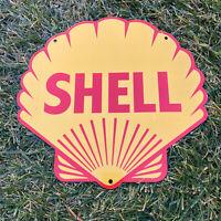 "VINTAGE SHELL GASOLINE 14"" PORCELAIN SIGN GAS OIL METAL STATION PUMP PLATE CLAM!"