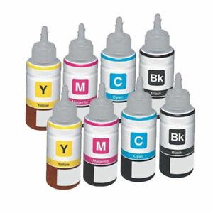 8 x Universal Ink Bottles BCMY Non-OEM Alternative For HP Printers - 100ml