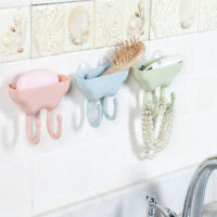 Bathroom Soap Dish Drain Shelf Storage Box Suction Double Hook Soap Rack Holder