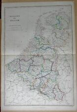 1860  LARGE ANTIQUE MAP - HOLLAND AND BELGIUM
