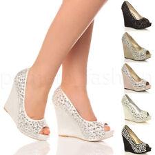 Para Mujer Damas Nupcial Sandalias de Cuña con Plataforma de Boda noche Graduación Zapatos Talla