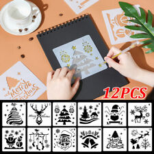 12Pcs DIY Merry Christmas Drawing Stencil Templates  Embossing Paper Paintings