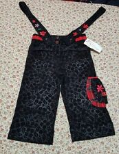 AGE 8 YEARS LITTLE DARLINGS XMAS FLORAL BLACK CORD CROPPED TROUSERS TARTAN 128CM