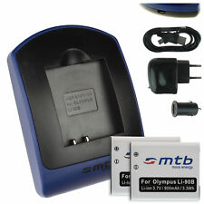 2x Batterie + USB Caricatore Li-90B LI-92B per Olympus TOUGH TG-Tracker