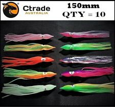 Soft Octopus Squid Skirt Trolling Jig Game Fishing Lure Snapper Salmon Tuna Mahi