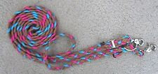horse barrel racing reins brown pink and teal paracord unique braiding style