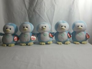 "Lot of 5 Baby Ty TWINKLES the Blue Penguin 6"" NWT StuffedAnimal ToyPlush Newborn"