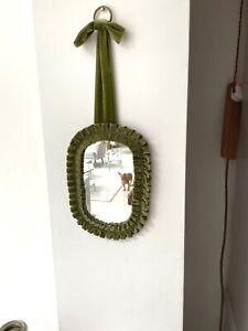 small green pleated velvet victorian mirror wall mirror