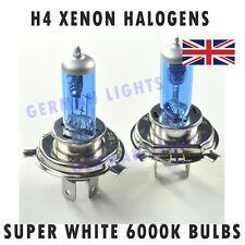 * 2 H4 SUPER Bianco XENON Headlight Bulbs 6000K Flash di ricambio Twin immerso alta