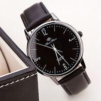 Luxury Men Women's Stainless Steel Quartz Analog Leather Band Dial Wrist Watch