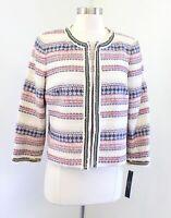 NWT Tahari ASL Levine Fringe Boucle Chain Blazer Jacket Size 6 Striped Red Blue