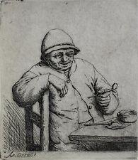 Adriaen Jansz Van Ostade Dutch 1610-1685 Etching Man Seated Smoking