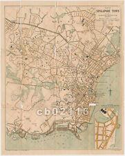 Rare Vintage Original c. 1920's Plan of Singapore Town Map of Singapore Island