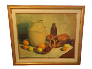 Original Oil Painting Vintage Impressionist Still Life Signed Donald Lynch Fruit