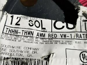 Southwire #12awg Solid THHN/THWN-2/MTW Building Wire Red /100ft