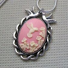 Pink Hummingbird Cameo Necklace, Love Birds Pendant,.925 Sterling Silver Chain