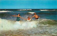 Chrome Postcard MA Fun in the Surf People Swimming Bathing Suits Ocean F507