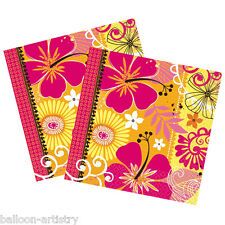 16 Tropical Party Heat Yellow Orange Square 2ply Disposable 33cm Paper Napkins