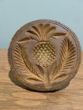 Antique Wooden Beautiful Pineapple Butter Press Mold Repaired Scottish Thistle?
