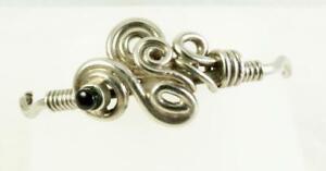Vintage Handcrafted Sterling Silver Modernist Swirls & Onyx Cuff Bracelet