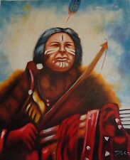 Chief Geronimo - Quality Oil Painting on Canvas 20 x 24 In.Signed.