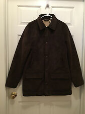 L.L. Bean Men's Heavy Winter Woods City Button-Up Dark Brown Coat Medium
