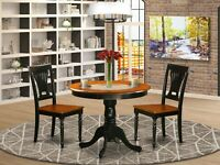 """3pc Kitchen dinette 36"""" round pedestal table with 2 wood chairs in cherry black"""