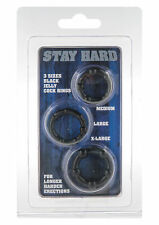 STAY HARD 3 PENIS RING SET Erection MALE POWER Delay UK SELLER FAST POST