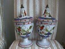 CALF FAENZA LARGE PAIR OF HAND PAINTED MAJOLICA JAR WITH LID ITALIAN POTTERY