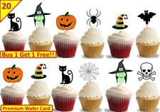 40 Halloween Cup Cake Toppers Edible Stand Up Wafer Decorations Kids Party