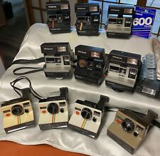 Lot 10 Polaroid 600 Series Cameras-One Step, Sun 600 & 660, 635CL + Film & Flash