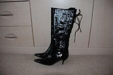 Ladies black patent leather knee high 'corset' stiletto kitten heel boots size 8