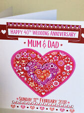 Special 40th Ruby Anniversary card Personalised ANNIVERSARY forty years RED RUBY