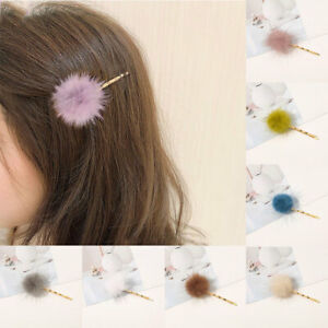 Faux Fur Hairpin Fluffy Candy Color Pom Pom Furry Ball Barrettes Plush Hair Clip