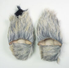 Handmade Moroccan gray goat hair fur babouche slippers US7.5 - 8